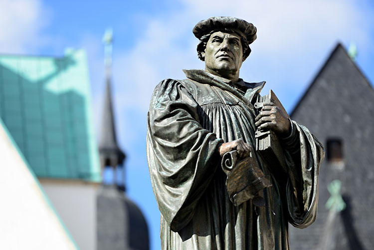 Monument of Martin Luther on the Town Square of Eisleben, Germany